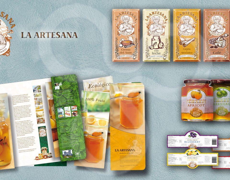 Identidad corporativa, catálogos y packaging de producto para LA ARTESANA