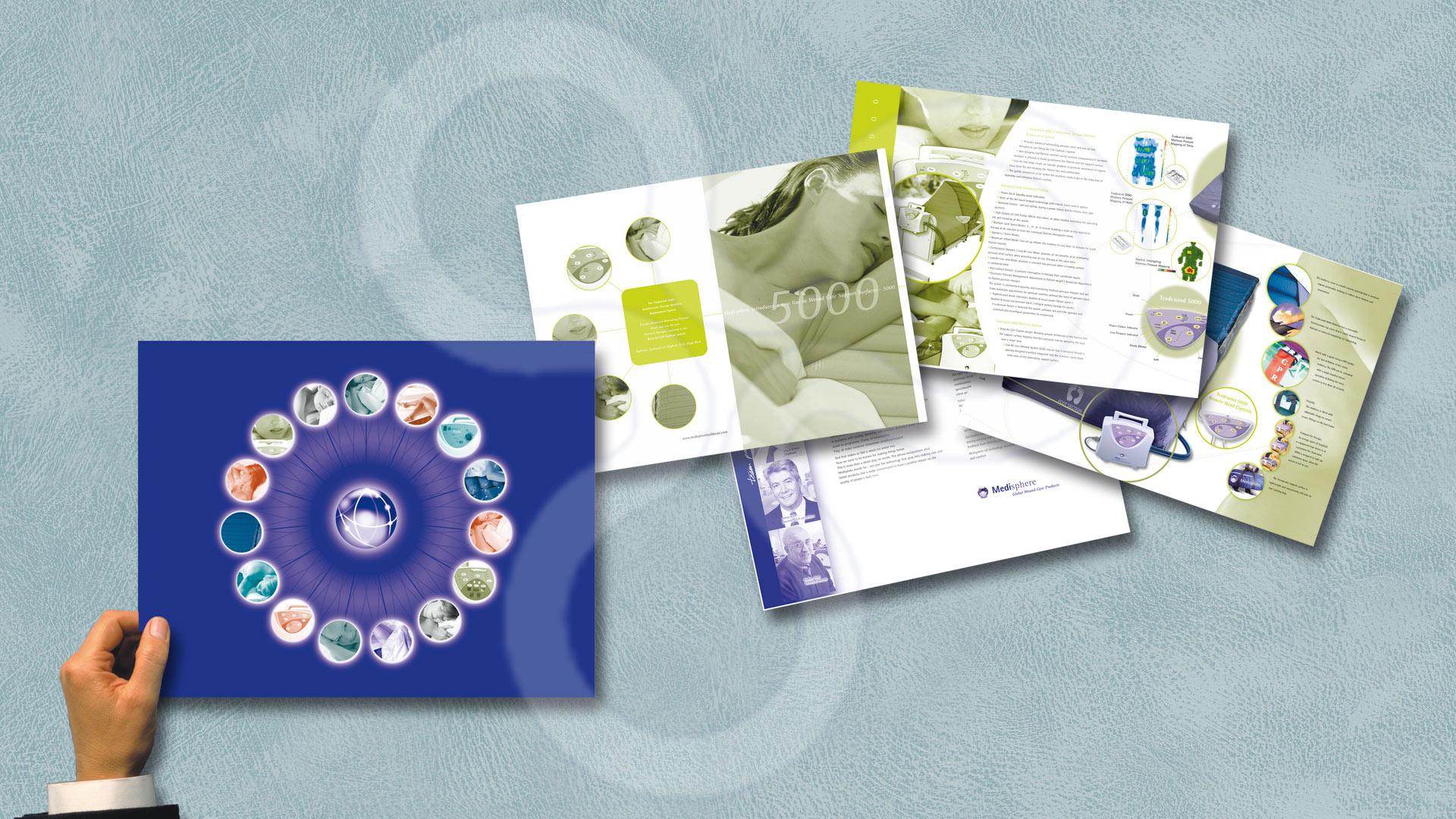 Identidad corporativa y catálogos para Medisphere Heatl Care